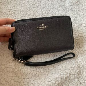 NWT Coach Double Zip Sparkly Black Wristlet Wallet